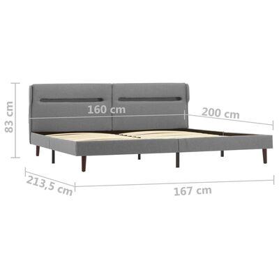 vidaXL világosszürke LED-es szövet ágykeret 160 x 200 cm