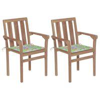 vidaXL 2 db tömör tíkfa kerti szék levélmintás párnákkal