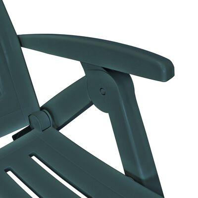 vidaXL zöld műanyag napozóágy lábtartóval