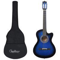 """vidaXL 12 darabos 6 húros kék akusztikus western gitárszett 38"""""""