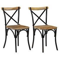vidaXL 2 db fekete kereszt háttámlás tömör mangófa szék