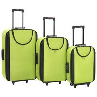 vidaXL 3 db zöld puhafalú Oxford-szövetes gurulós bőrönd
