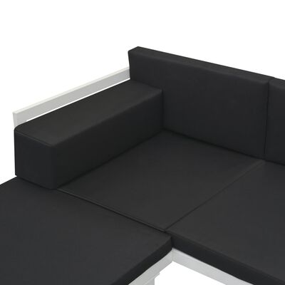 vidaXL 4 részes fekete alumínium kerti ülőgarnitúra párnákkal