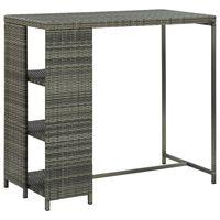 vidaXL szürke polyrattan bárasztal tárolópolccal 120 x 60 x 110 cm