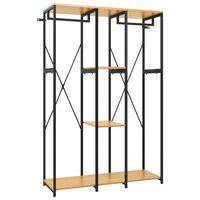 vidaXL fekete, tölgyszínű fém és forgácslap szekrény 110x40x167 cm