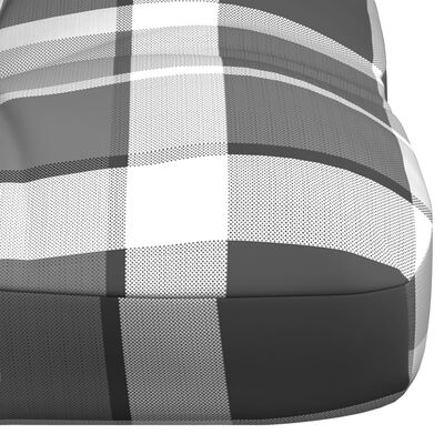 vidaXL szürke kockás szövet kerti kanapépárna 120 x 40 x 12 cm