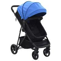 vidaXL kék és fekete 2 az 1-ben acél babakocsi/gyermekkocsi