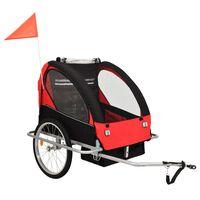 vidaXL 2 az 1-ben fekete/piros kerékpár utánfutó és babakocsi
