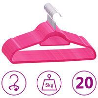 vidaXL 20 db rózsaszín csúszásmentes bársony ruhaakasztó