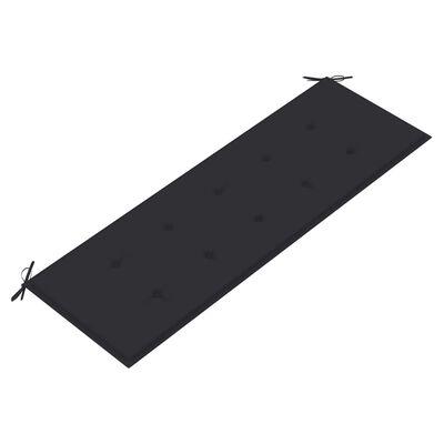 vidaXL tömör tíkfa kerti pad antracitszürke párnával 150 cm