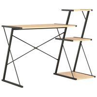 vidaXL fekete és tölgyszínű íróasztal polccal 116 x 50 x 93 cm