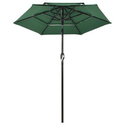 vidaXL 3 szintes zöld napernyő alumíniumrúddal 2 m
