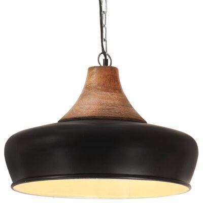 vidaXL fekete ipari vas és tömör fa függőlámpa 26 cm E27