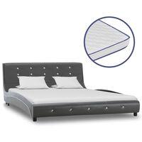 vidaXL szürke műbőr ágy memóriahabos matraccal 140 x 200 cm