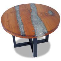 vidaXL 60 cm gyantázott tíkfa dohányzóasztal