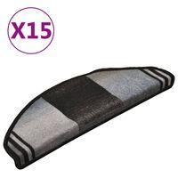 vidaXL 15 db fekete-szürke öntapadó lépcsőszőnyeg 65 x 21 x 4 cm