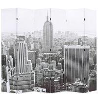 vidaXL fekete-fehér New York mintás paraván 228 x 170 cm