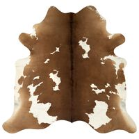 vidaXL barna és fehér valódi marhabőr szőnyeg 150 x 170 cm
