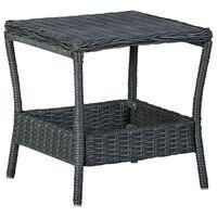 vidaXL sötétszürke polyrattan kerti asztal 45 x 45 x 46,5 cm