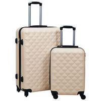 vidaXL 2 db aranyszínű ABS keményfalú gurulós bőrönd