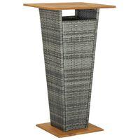 vidaXL szürke polyrattan és tömör akácfa bárasztal 60 x 60 x 110 cm
