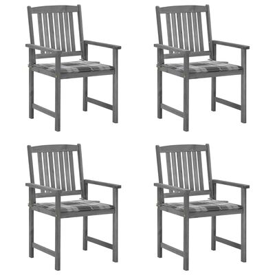 vidaXL 4 db szürke tömör akácfa rendezői szék párnával