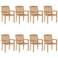 vidaXL 8 db rakásolható tömör tíkfa kerti szék