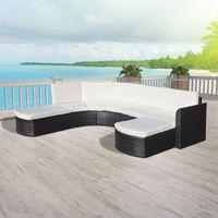 vidaXL 4-részes fekete polyrattan kerti bútorszett párnákkal