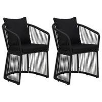 vidaXL 2 db fekete PVC rattan kerti szék hát- és ülőpárnával