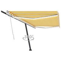 vidaXL sárga és fehér kézzel kihúzható LED-es napellenző 500 x 300 cm