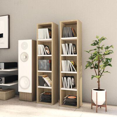 vidaXL 2 db fehér és sonoma-tölgy forgácslap CD-szekrény 21x16x93,5 cm