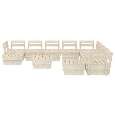vidaXL 11 részes impregnált lucfenyő kerti raklap-bútorgarnitúra