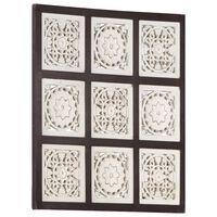 vidaXL barna és fehér kézzel faragott fali panel MDF 60 x 60 x 1,5 cm