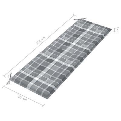 vidaXL tömör tíkfa kerti pad szürke kockás párnával 150 cm