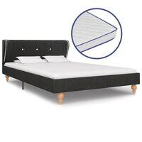 vidaXL sötétszürke zsákvászon ágy memóriahabos matraccal 120 x 200 cm