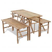 vidaXL bambusz sörözőasztal 2 paddal 100 cm