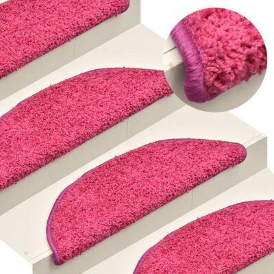 vidaXL 15 db rózsaszín lépcsőszőnyeg 56 x 17 x 3 cm