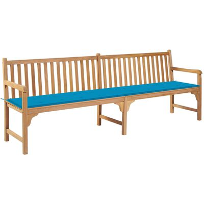 vidaXL tömör tíkfa kerti pad kék párnával 240 cm