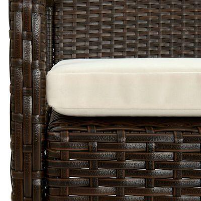 vidaXL barna polyrattan kerti szék párnával