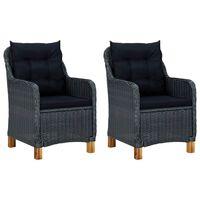 vidaXL 2 db sötétszürke polyrattan kerti szék párnával