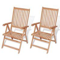 vidaXL 2 db dönthető tömör tíkfa kerti szék