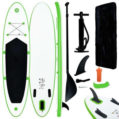 vidaXL zöld és fehér felfújható állószörfszett