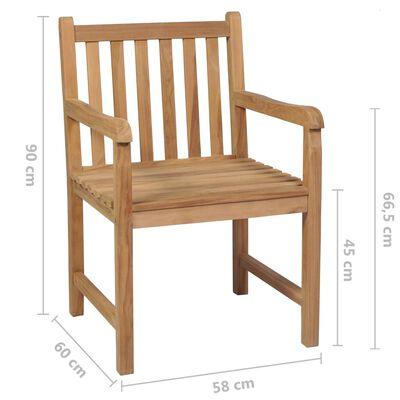 vidaXL 4 db tömör tíkfa kerti szék királykék párnával