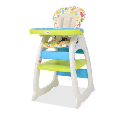 vidaXL 3 az 1-ben, átalakítható, kék és zöld etetőszék asztallal