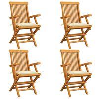 vidaXL 4 db tömör tíkfa kerti szék krémszínű párnával
