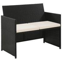 vidaXL fekete kétszemélyes polyrattan kerti kanapé párnákkal