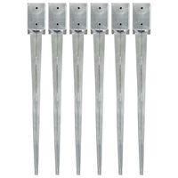 vidaXL 6 db ezüstszínű horganyzott acél kerítéstüske 9 x 9 x 90 cm
