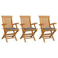 vidaXL 3 db tömör tíkfa kerti szék szürke párnával