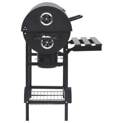 vidaXL fekete acél hengeres grillsütő kerékkel és polccal 115x85x95 cm