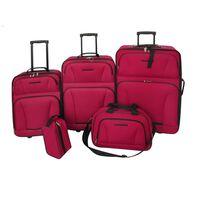 vidaXL 5 darabos piros utazóbőrönd szett